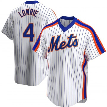 Replica Jed Lowrie Youth New York Mets White Home Cooperstown Collection Jersey